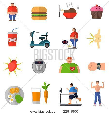 Transformation from obesity to healthy lifestyle with icons of good nutrition wrong food isolated vector illustration