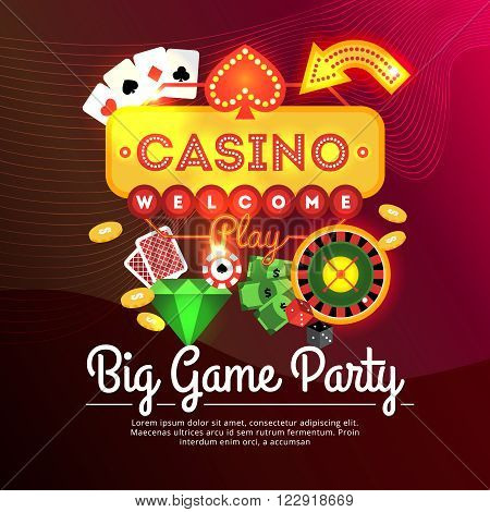 Big game party casino advertising poster with neon sign and casino elements flat vector illustration