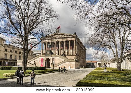 BERLIN - APRIL 4: Museum Island which includes Alte Nationalgalerie, Old National Gallery, Altes museum, Bode, Pergamon, Neues museum. UNESCO World Heritage on April 4, 2015 in Berlin, Germany