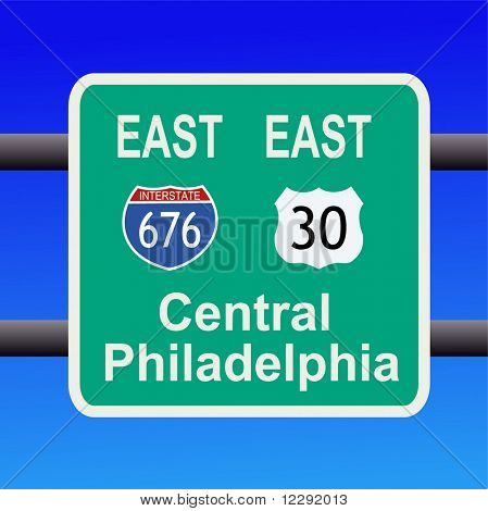 freeway to central Philadelphia sign illustration