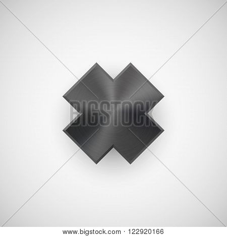 Black abstract cross badge, blank button template with metal texture, chrome, silver, steel and realistic shadow for logo, design concepts, banners, interfaces, UI, apps, web. Vector illustration.
