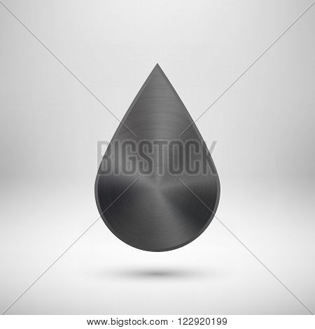 Black abstract geometric shape, drop badge, blank button template with metal texture, chrome, silver, steel and realistic shadow for logo, design concepts, web, prints, UI, apps. Vector illustration.