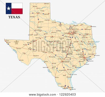 road map of the US American Federal State Texas with flag