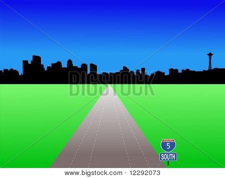 JPG Seattle skyline with deserted freeway illustration