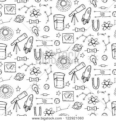 Seamless Pattern With Physic And Astronomy Elements