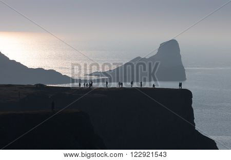 Tourists at Worms Head on the Gower peninsula, South Wales