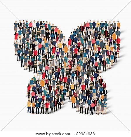 Isometric set of styles abstract  symbol  butterfly web infographics concept  illustration of a crowded square, flat 3d. Crowd point group forming a predetermined shape. Creative people.
