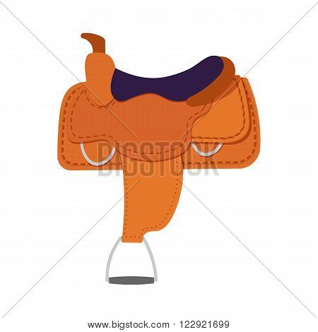 Saddle vector illustration. saddle on white background. Preparing horse for competitions.Flat style vector objects for horses on white background.