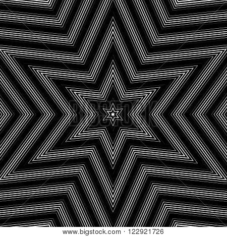 Illusive Background With Black Chaotic Lines, Moire Style. Contrast Vector Geometric Trance Pattern,