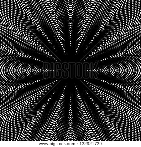 Black And White Moire Lines, Striped  Psychedelic Vector Background.  Op Art Style Contrast Pattern.