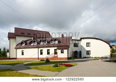 KLAIPEDA LITHUANIA - JULY 11 2015: Hotel (Church House) at Pokrovo Nicholas Church Klaipeda Lithuania