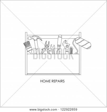 Toolbox. Set of tools for home repairs. Outline drawing. Vector illustration