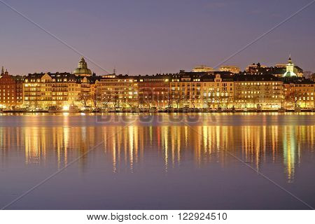 Stockholm, Sweden - March, 16, 2016: night landscape with the image of Stockholm, Sweden