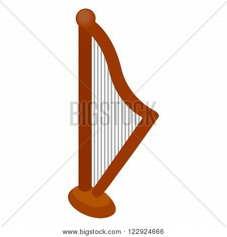 Harp icon in isometric 3d style on a white background