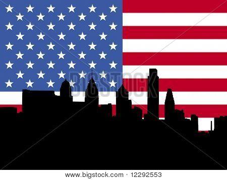 Philadelphia skyline with American flag illustration