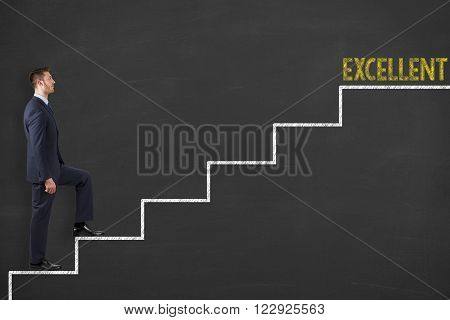 Excellent Steps Drawing on Blackboard Working Conceptual Business Concept