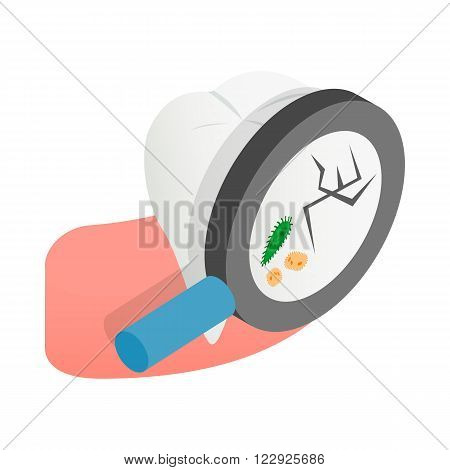 Tooth with magnifying glass icon in isometric 3d style on a white background