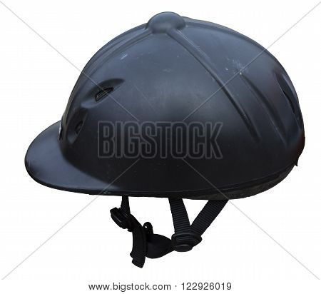 Black riding helmet. Isolated jockey protection on white background. Dirty and realistic object from equestrian enviroment with horses. Horse racing equipment.