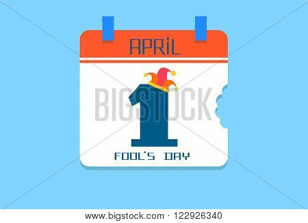 Calendar Page, First April Date With Jester Fool Day Holiday Flat Vector Illustration