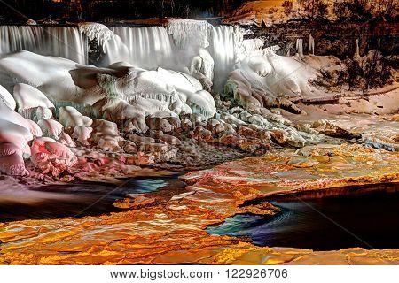 The American Falls of Niagara Falls frozen at night.