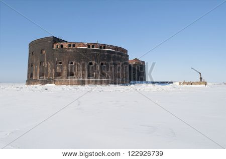 Fort Plague. The view from the ice of the Gulf of Finland, Kronstadt, Russia
