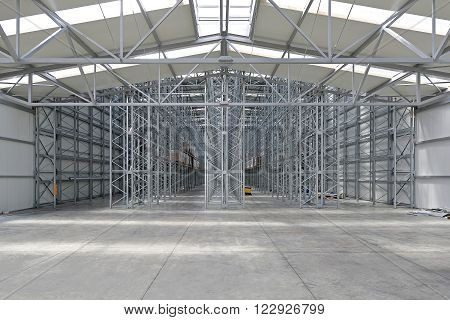 Empty Shelving System in New Distribution Warehouse