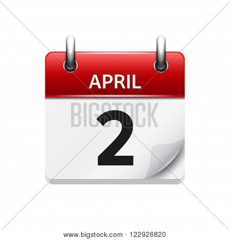 April 2. Vector flat daily calendar icon. Date and time, day, month. Holiday.