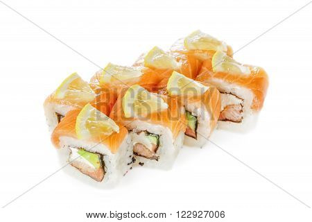 Fresh rolls on white background. Isolated image.