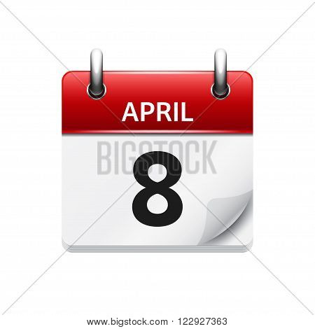 April 8. Vector flat daily calendar icon. Date and time, day, month. Holiday.