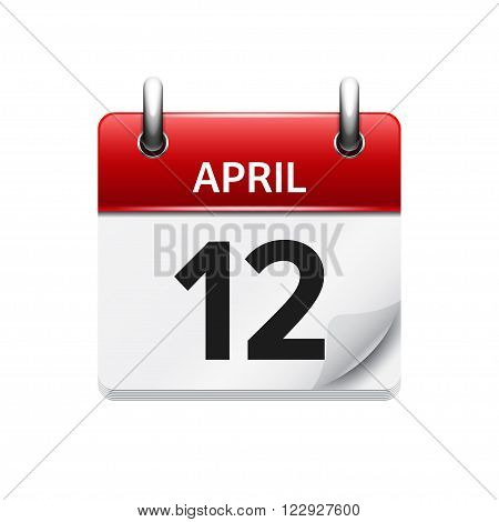 April 12. Vector flat daily calendar icon. Date and time, day, month. Holiday.