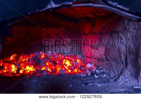 Burning coals. Burning coals in a traditional Russian oven