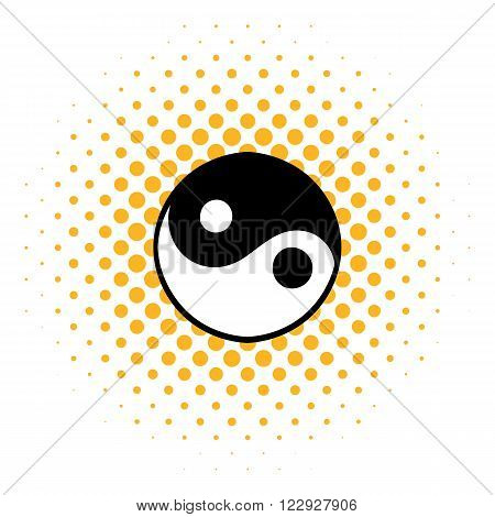 Ying yang icon in comics style on a white background