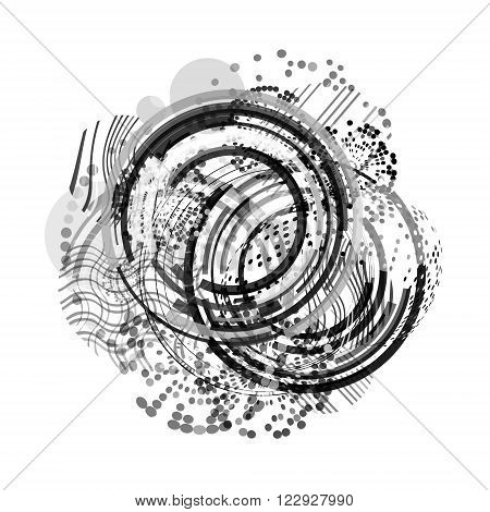 Vector Geometric Circle Background . Circle Pattern Background . Abstract Circles Geometrical Background . Modern Geometrical Circles Design Template . Black and white.