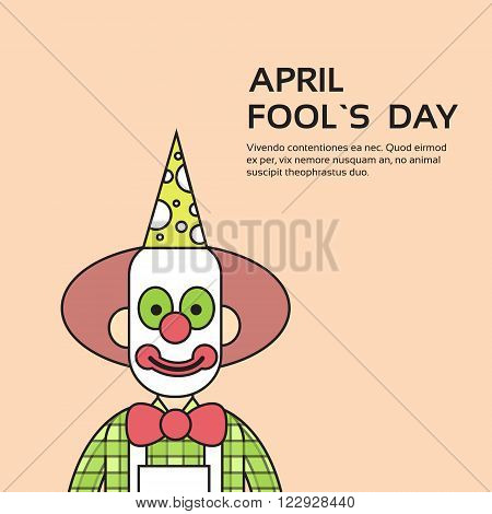 Clown Face First April Day, Fool Holiday Concept With Copy Space Thin Line Vector Illustration