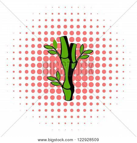 Green bamboo stem icon in comics style on a white background