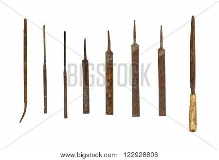 Collection of used file tools isolated on white background