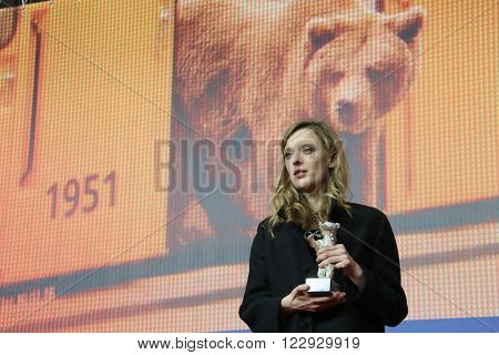Director Mia Hansen-Love  poses with his award at the award winners press conference of the 66th Berlinale International Film Festival on February 20, 2016 in Berlin, Germany.