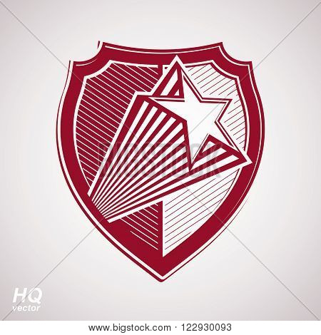 Vector military shield with pentagonal red star protection heraldic sheriff blazon.  Forces graphical coat of arms. Soviet Union theme.