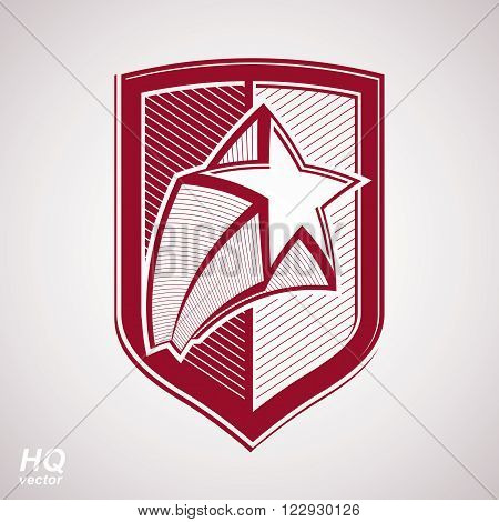 Vector red military shield with pentagonal star protection heraldic sheriff blazon. Ussr conceptual symbol.