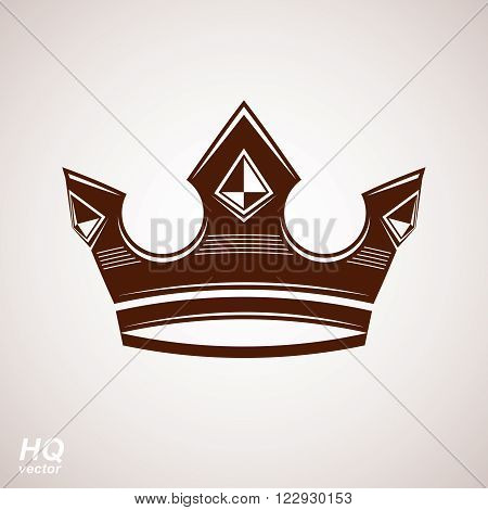 Royal design element regal icon. Vector majestic crown. King and queen regalia