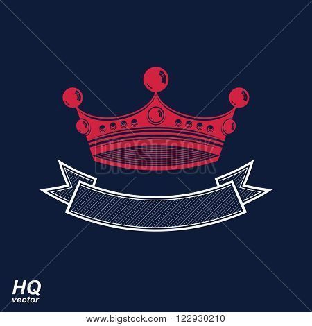 Vector imperial crown with undulate ribbon. Classic coronet with decorative curvy ribbon. King regalia design element.