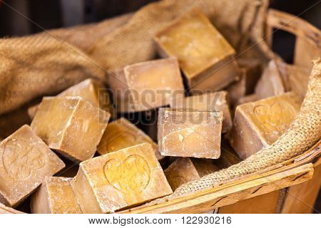 FRANCE L'ISLE-SUR-LA-SORGUE - AUGUST 07: Handmade soap in a beauty shop in Provence France on August 07 2014