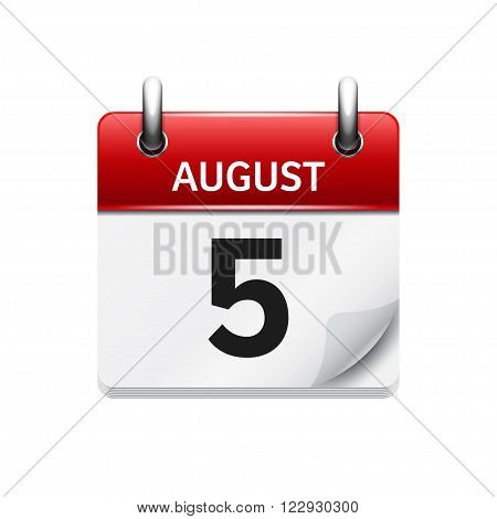 August 5. Vector flat daily calendar icon. Date and time, day, month. Holiday.