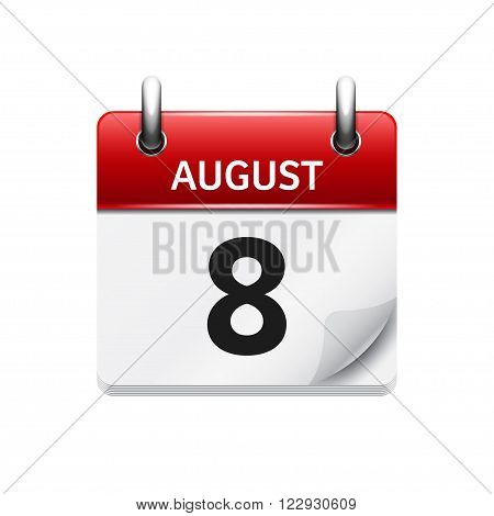 August 8. Vector flat daily calendar icon. Date and time, day, month. Holiday.