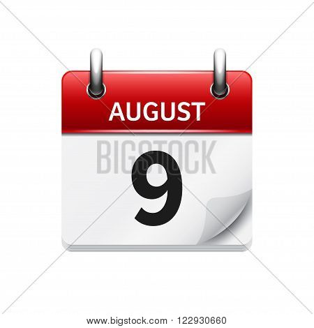 August 9. Vector flat daily calendar icon. Date and time, day, month. Holiday.