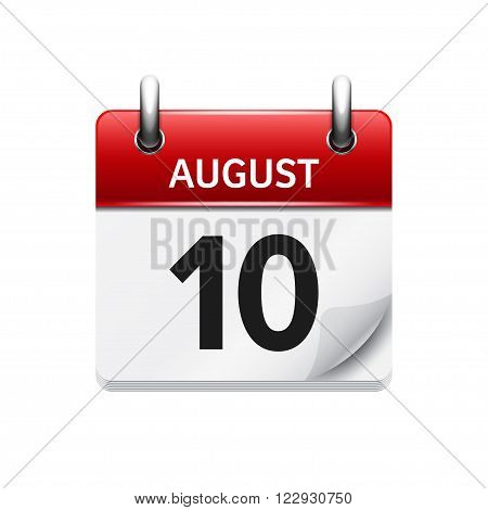 August 10. Vector flat daily calendar icon. Date and time, day, month. Holiday.