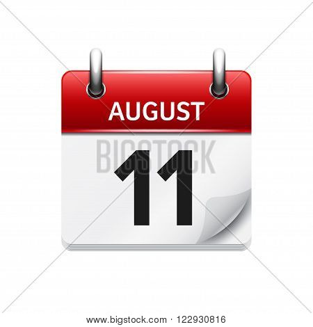 August 11. Vector flat daily calendar icon. Date and time, day, month. Holiday.