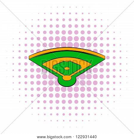 Baseball field icon in comics style isolated on white background. Top view