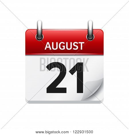 August 21. Vector flat daily calendar icon. Date and time, day, month. Holiday.