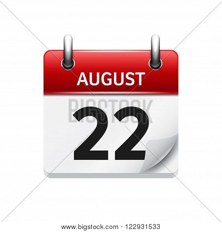 August 22. Vector flat daily calendar icon. Date and time, day, month. Holiday.